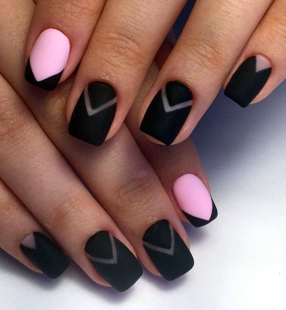 Картинки ногти розово-черные