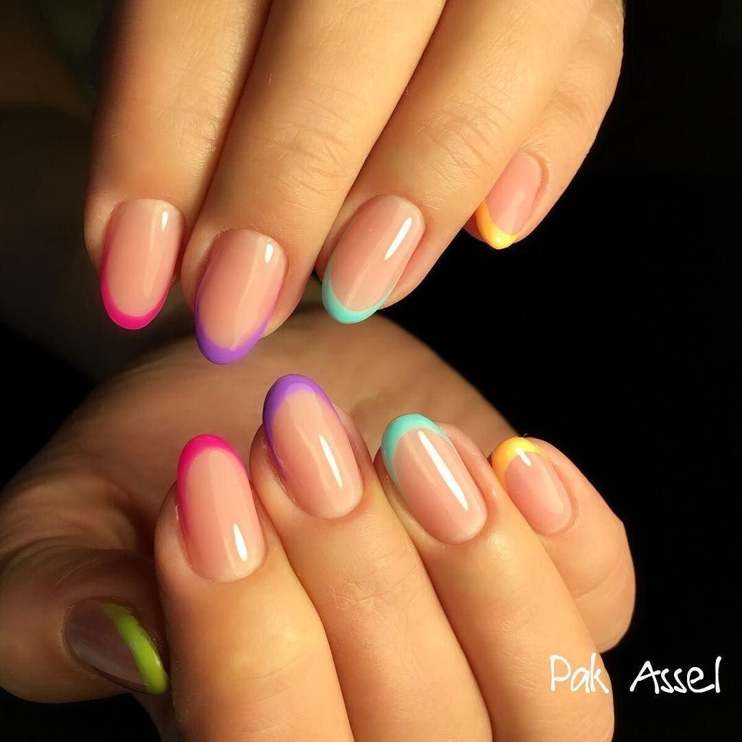 картинки ногтей с разноцветным френчем фото фото