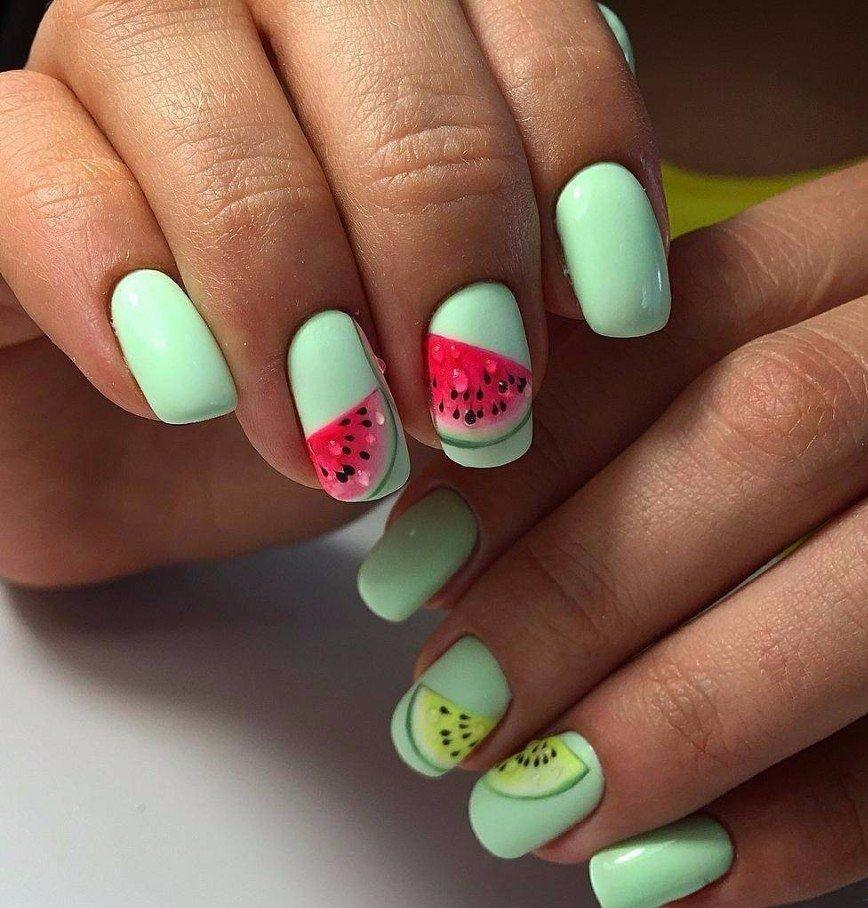 снесённый ногти гелевые дизайн фото лето количество