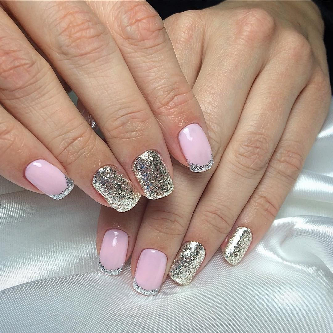 Ногти розовые с серебром фото