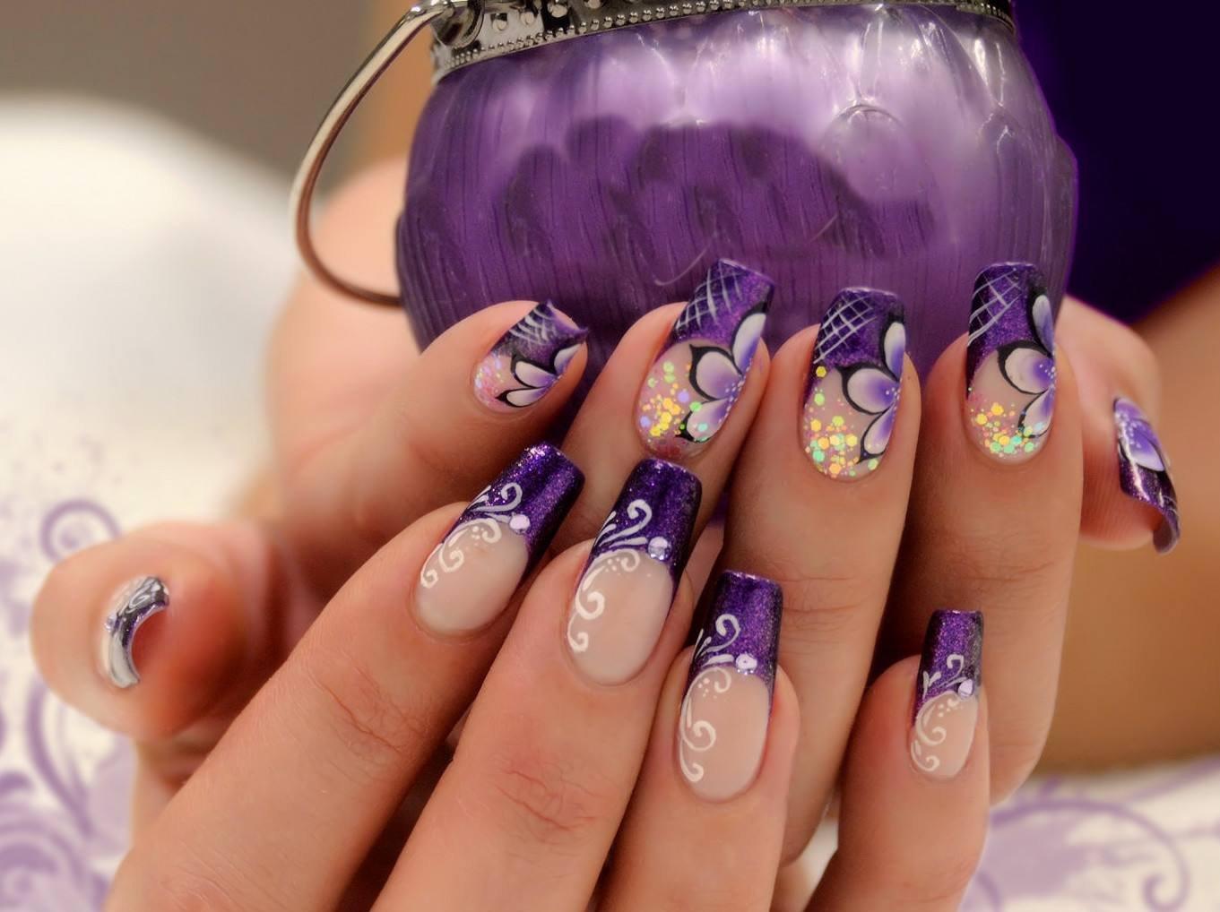 Ногти нарощенные фиолетовые картинки