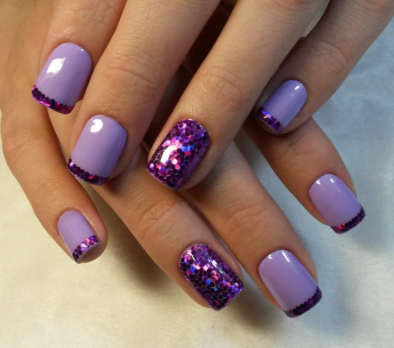 картинки ногти с розовыми сиреневыми блестками интересный дизайн продаж