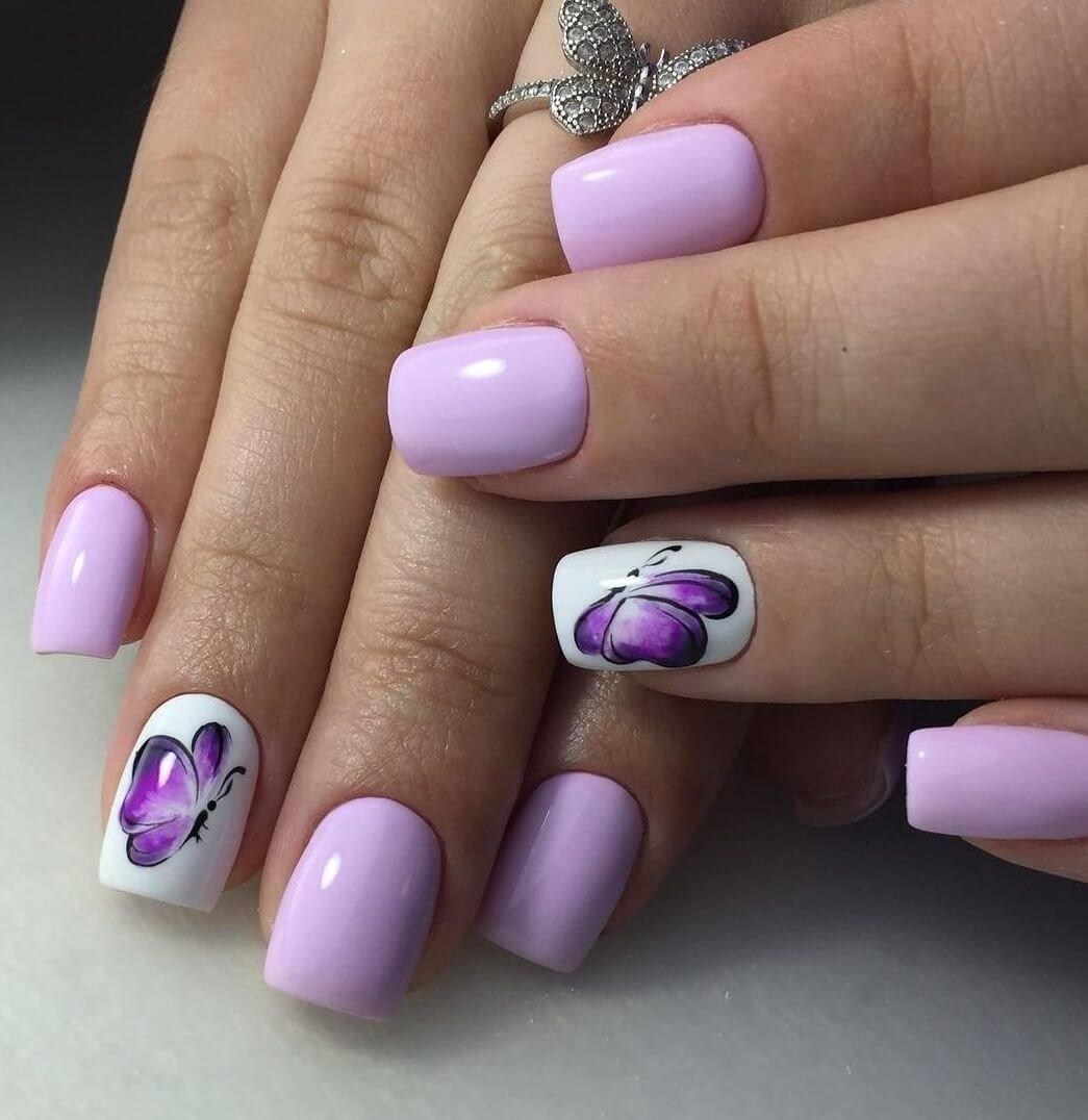 Нежно фиолетовый маникюр фото