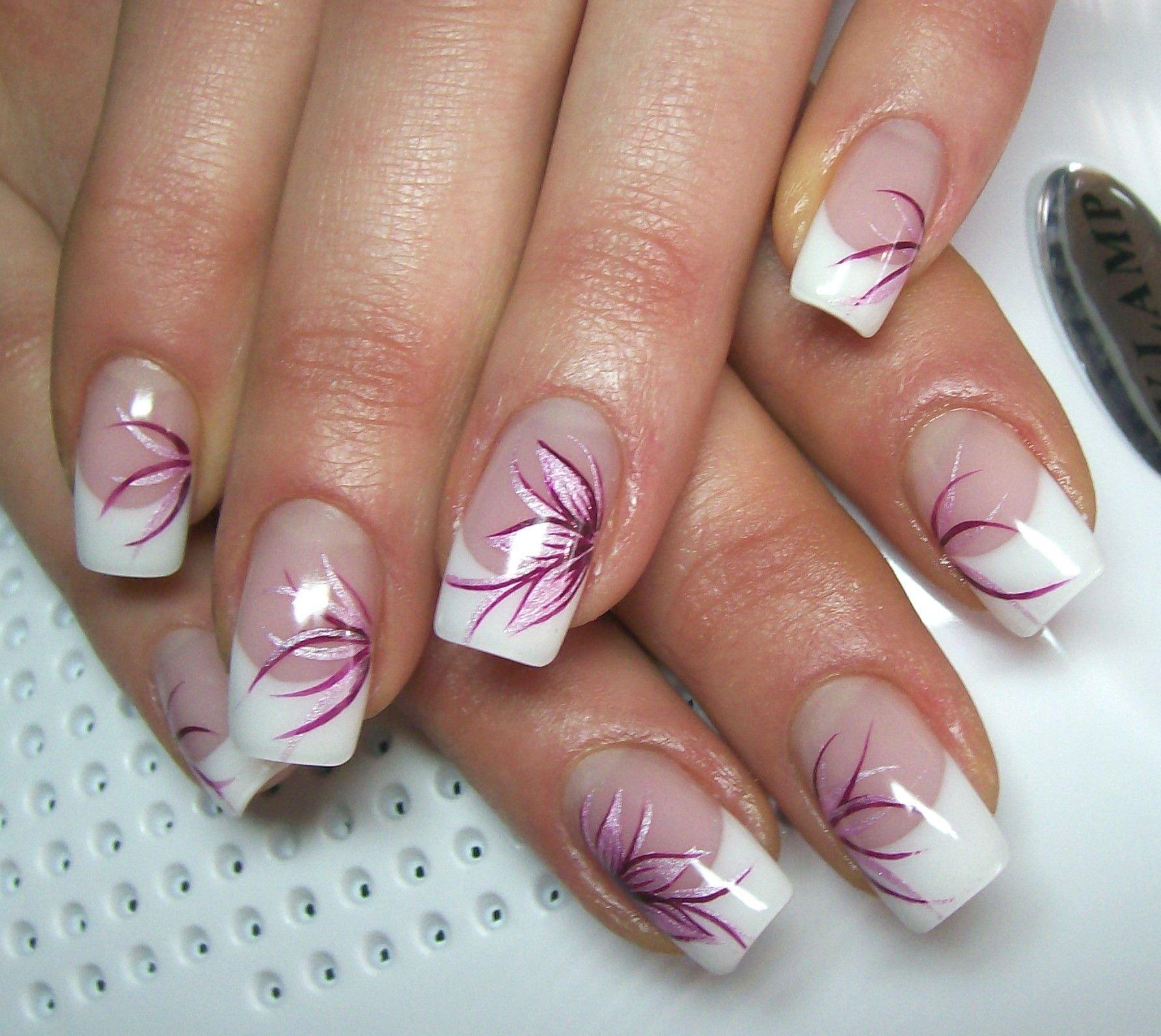 Картинки френча на ногтях цветы