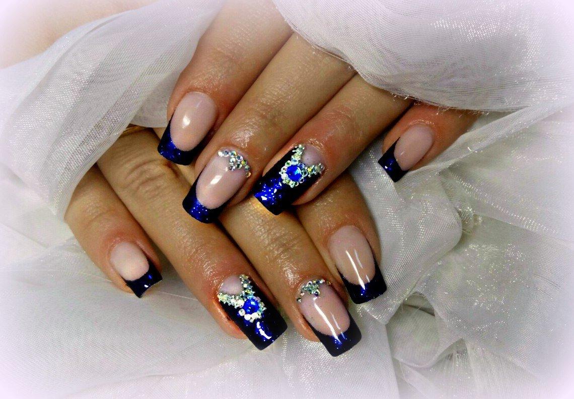 наращивание ногтей в синем цвете фото дизайн данной
