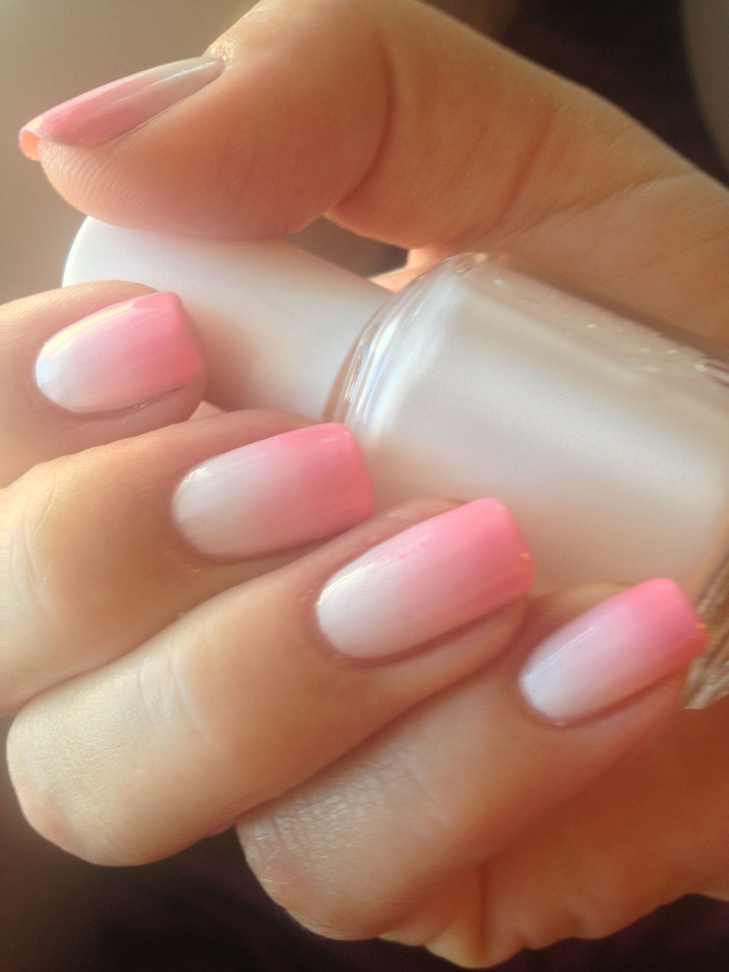 pink and white ombre nails - HD1024×1365