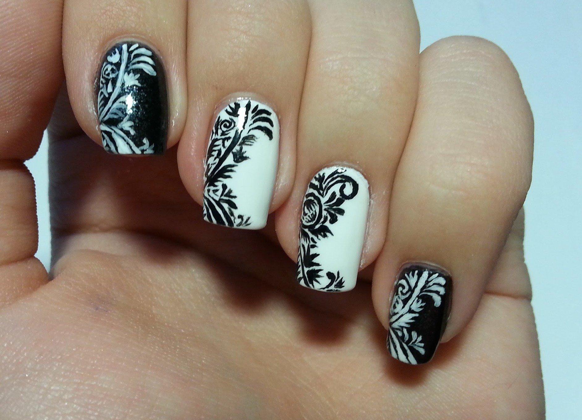 делаем черно белый рисунок на ногтях фото прекрасным дамам