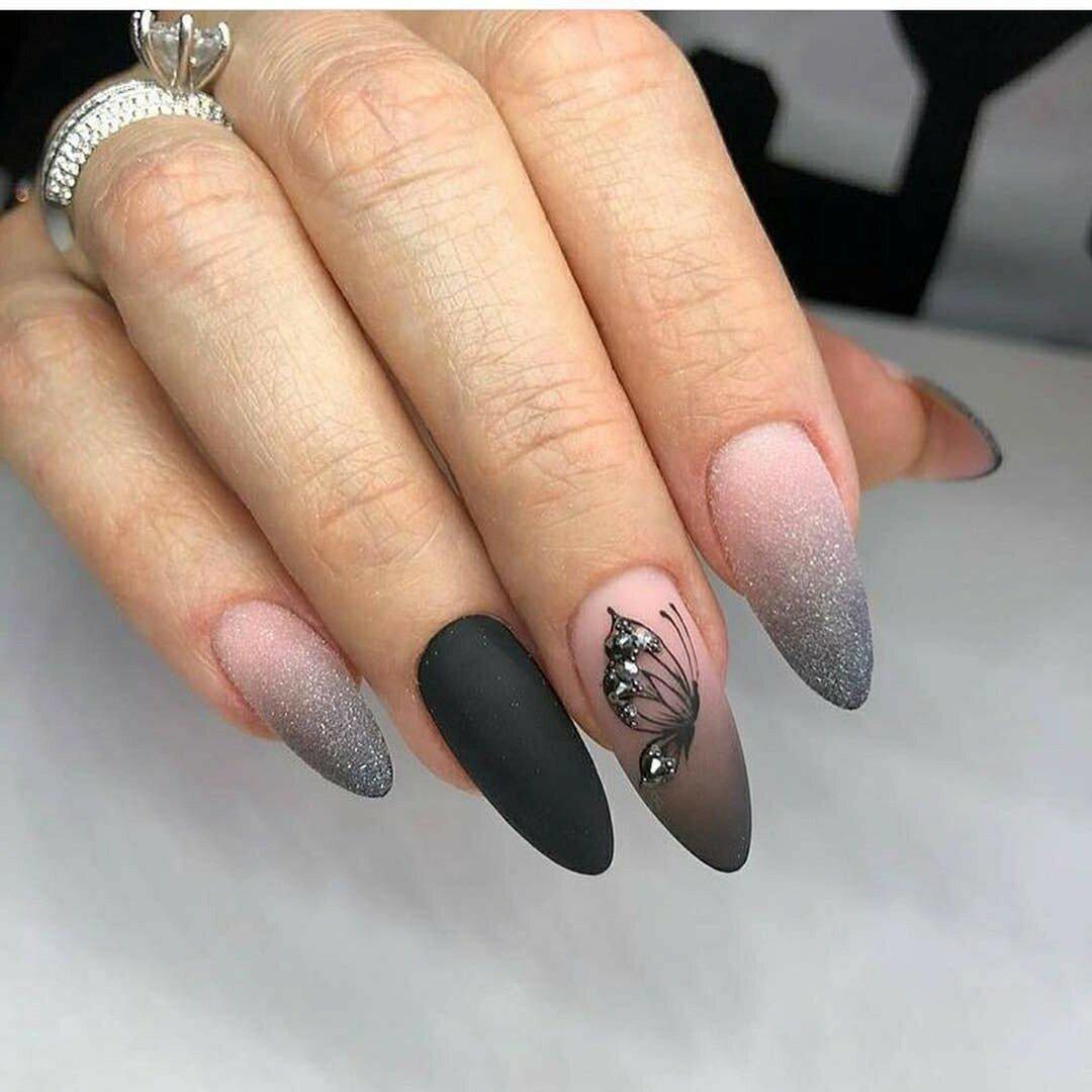 Фото матовых ногтей на овальные ногти