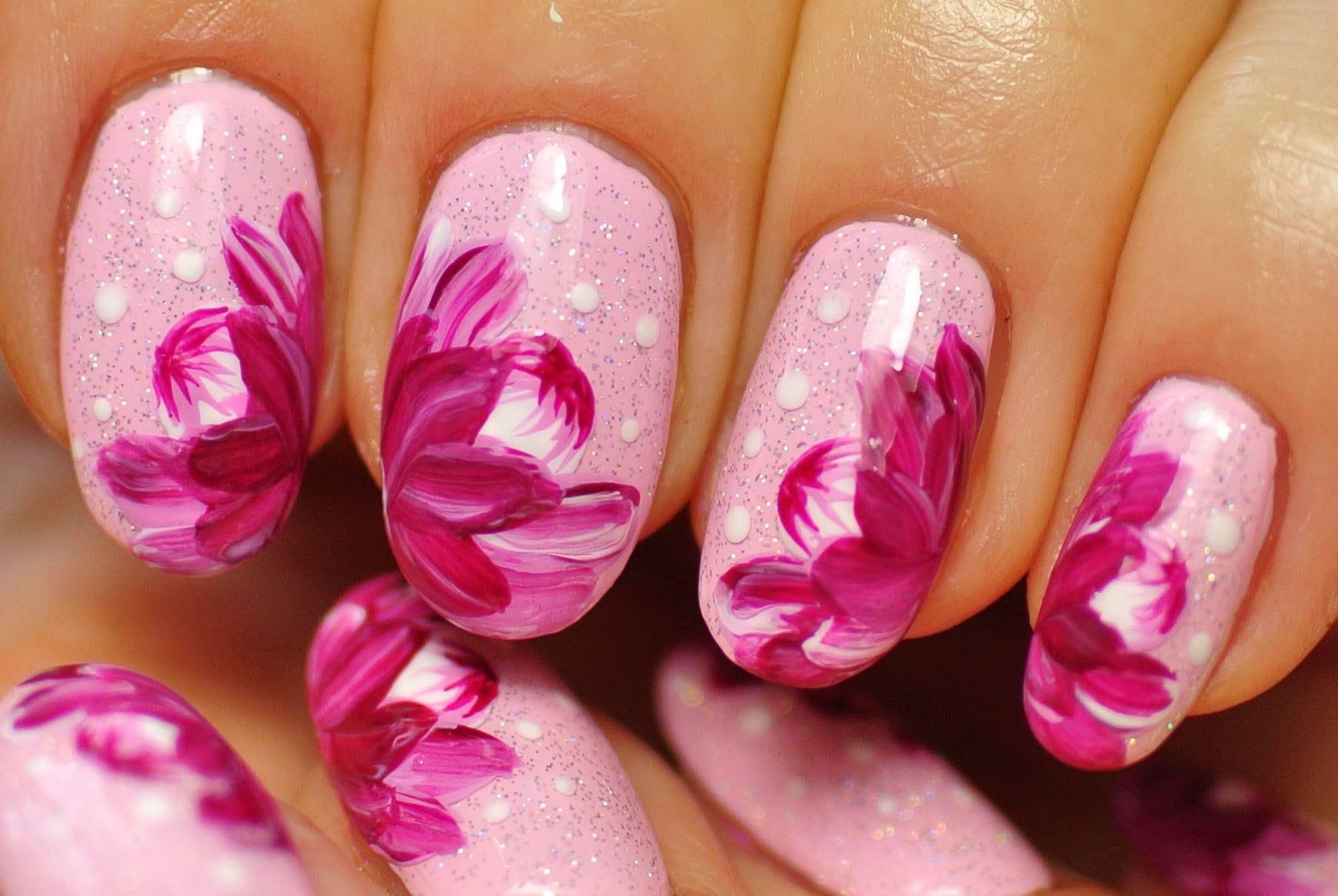 Картинки цветы нарисованные на ногтях