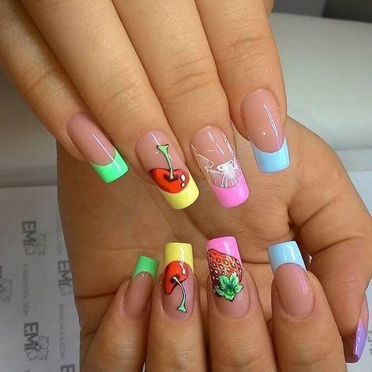 дизайн ногтей лето френч фото