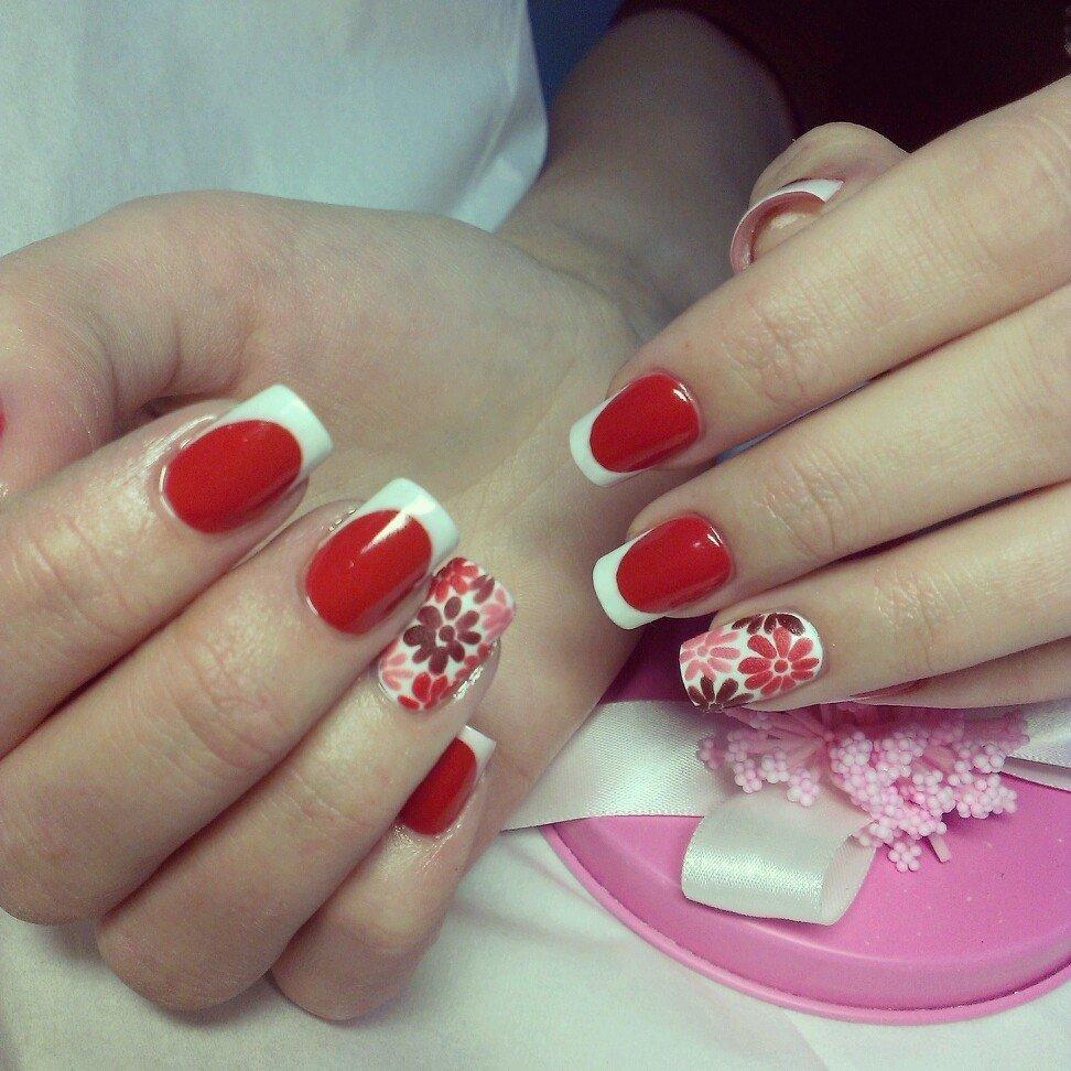 Картинки ногти белый френч с красным