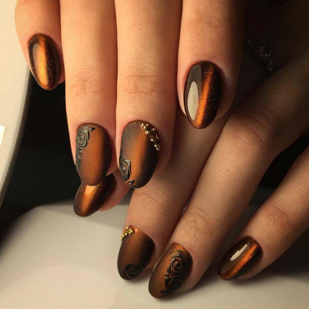 Гель лак на короткие ногти фото осень