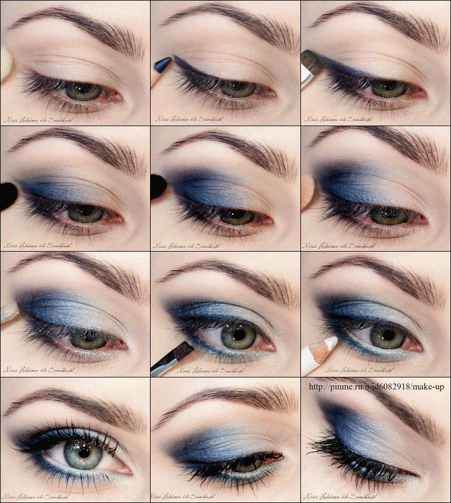 хочу пошаговые картинки макияжа глаз конечно