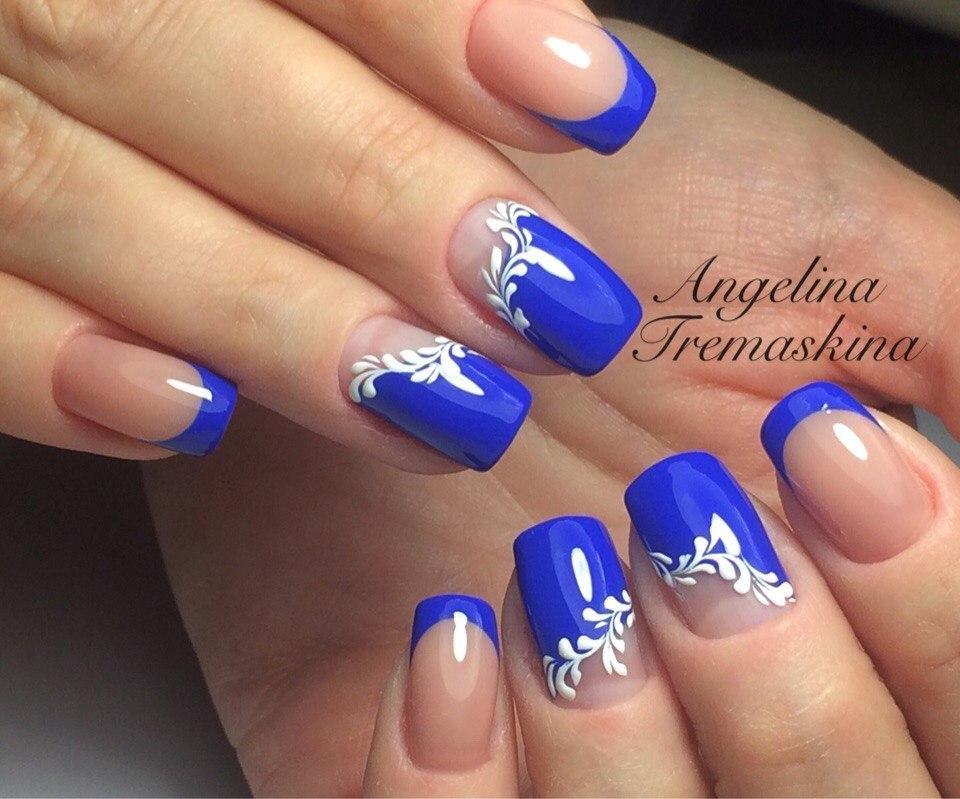 Картинки свадебный маникюр в синем цвете