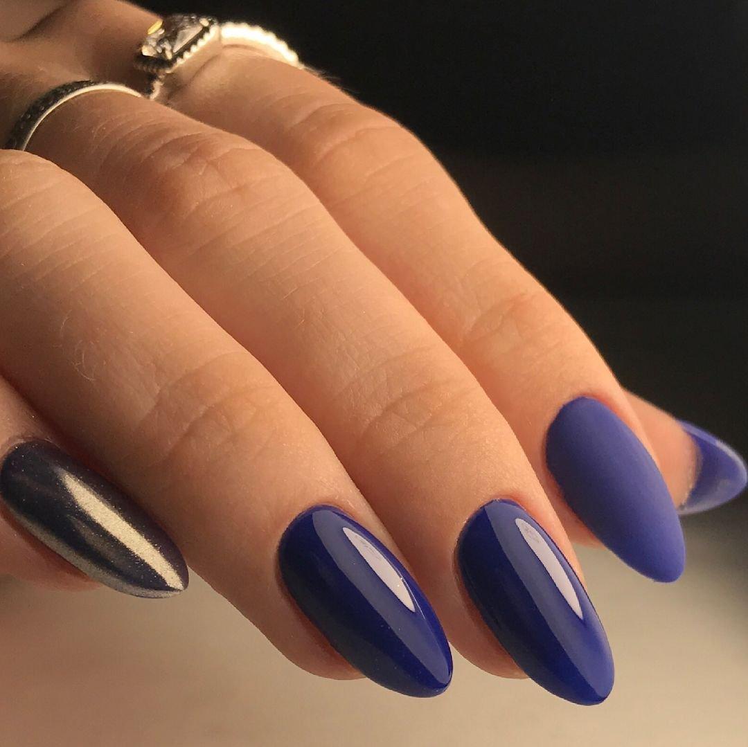 Маникюр на миндальную форму ногтей (47 фото)