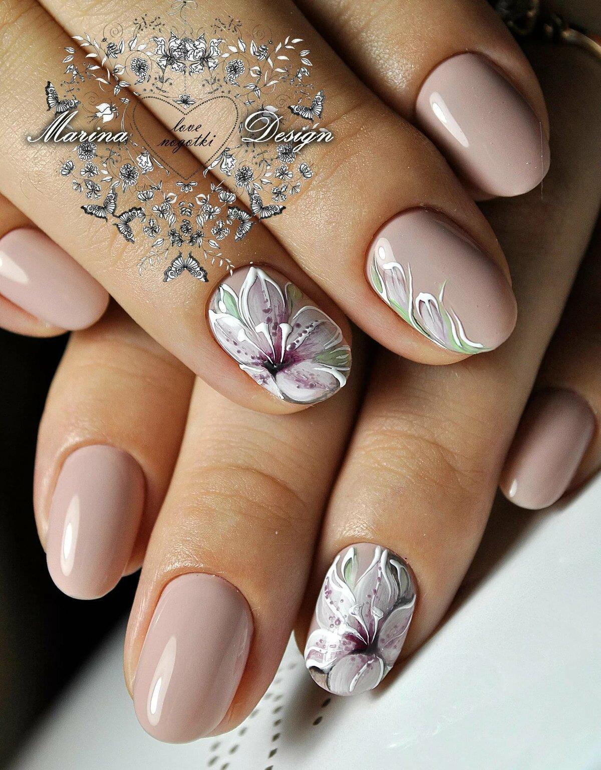 Рисунки цветов на ногтях фото новинки