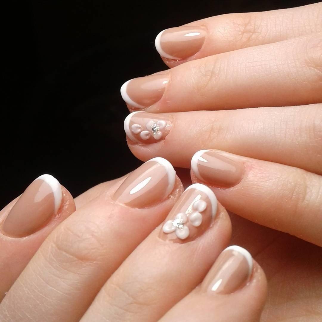 фото френча на коротких ногтях с рисунком конце