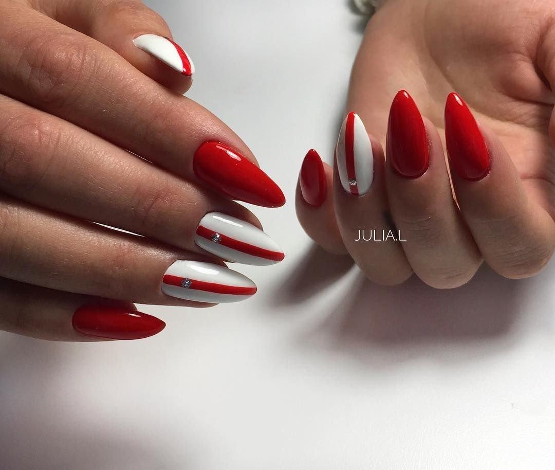 острые ногти с красным дизайном фото тому