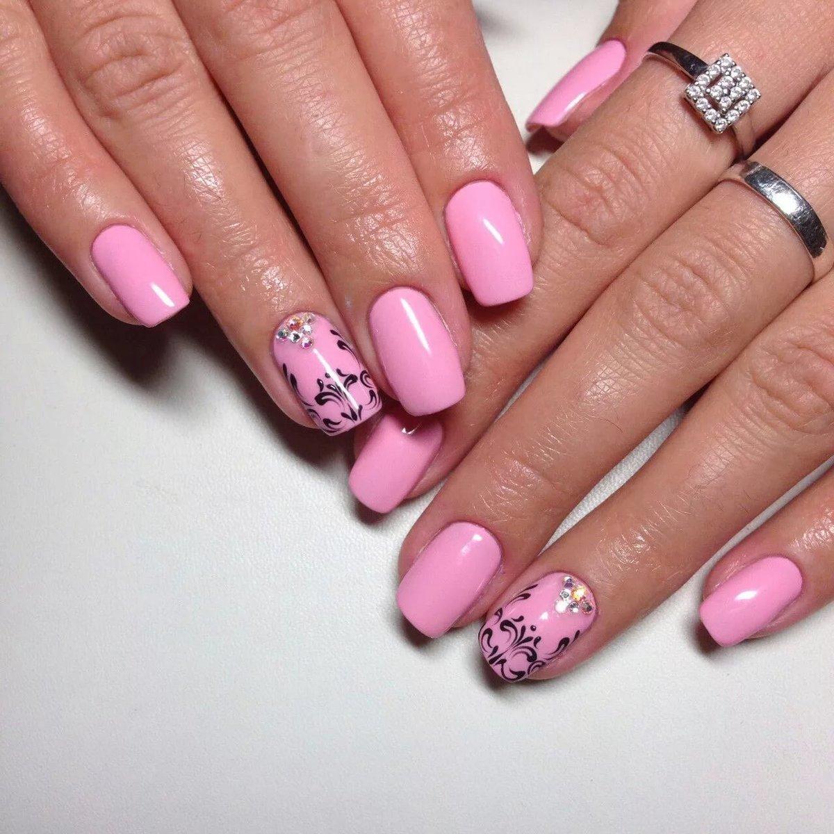 розовый шеллак на ногтях фото сети