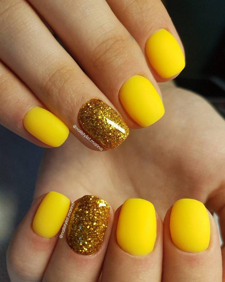 желтые ногти фото гель