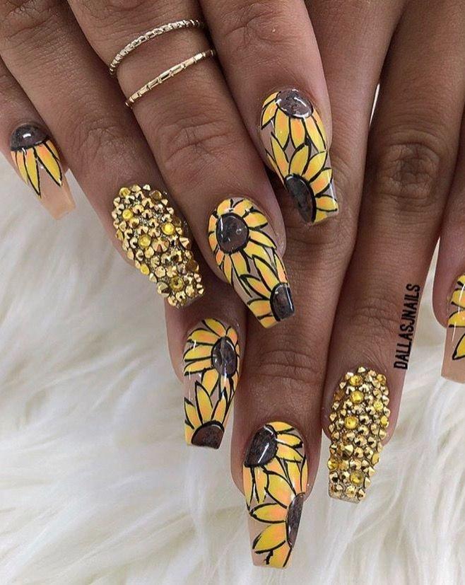 дизайн ногтей подсолнухи фото своим размерам
