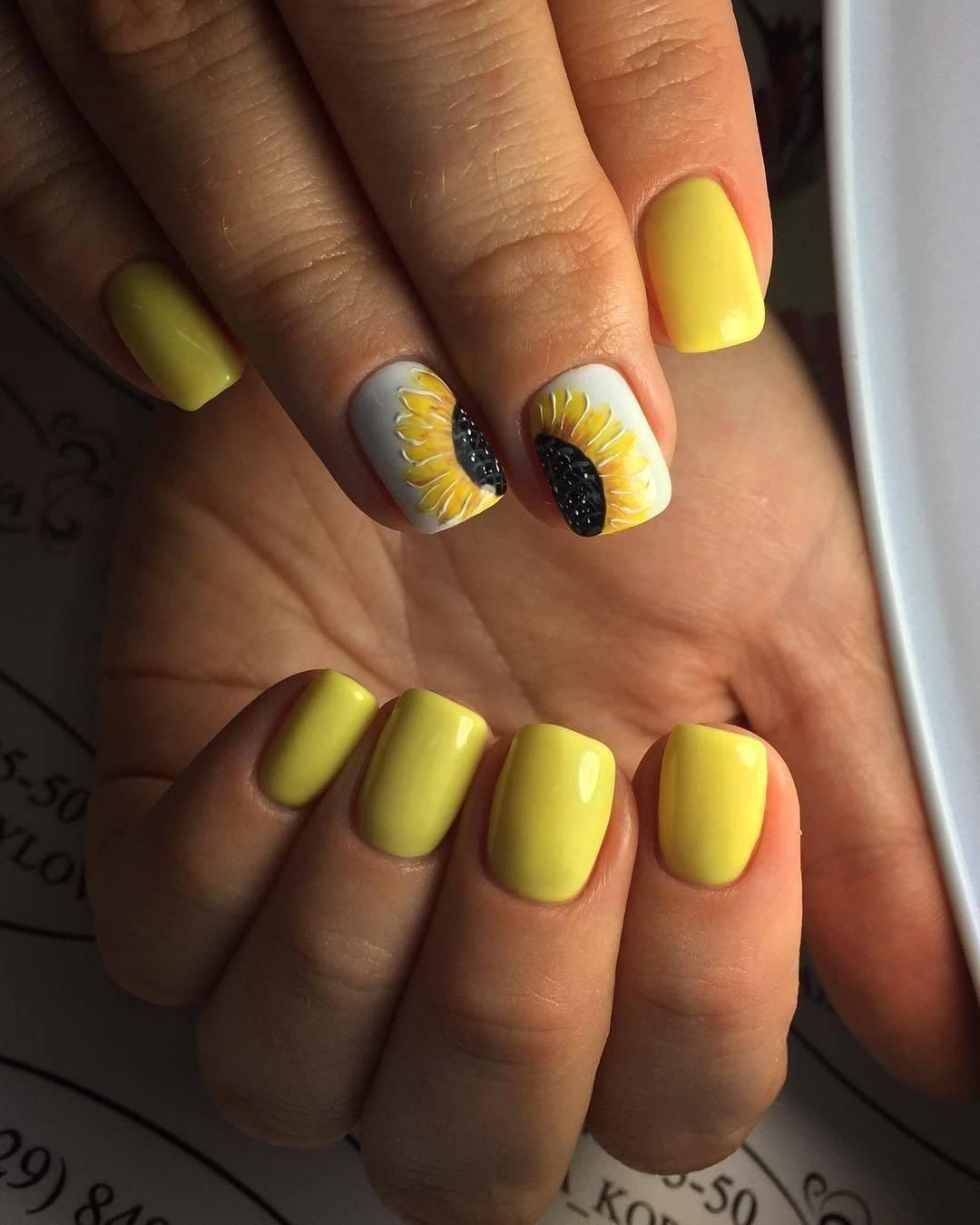 Дизайн ногтей подсолнухи фото