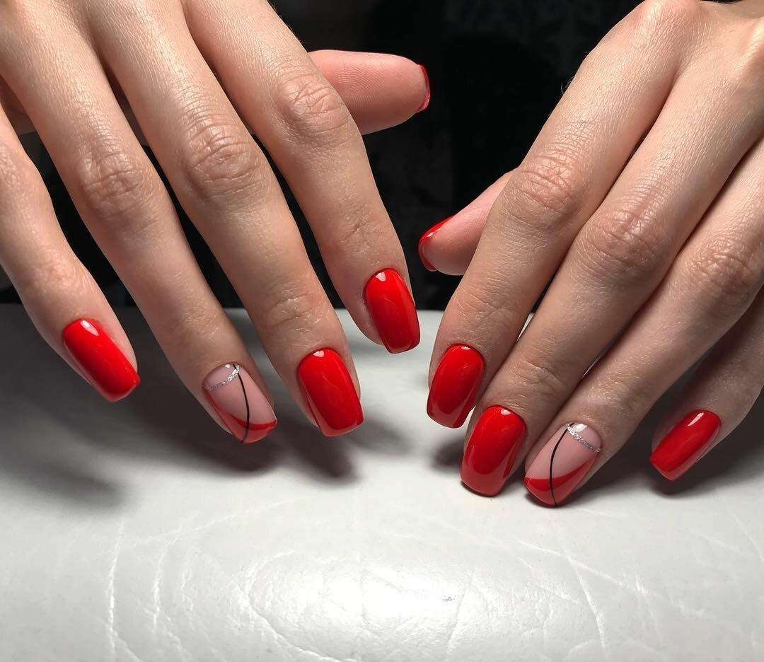 Красные ногти шеллак фото