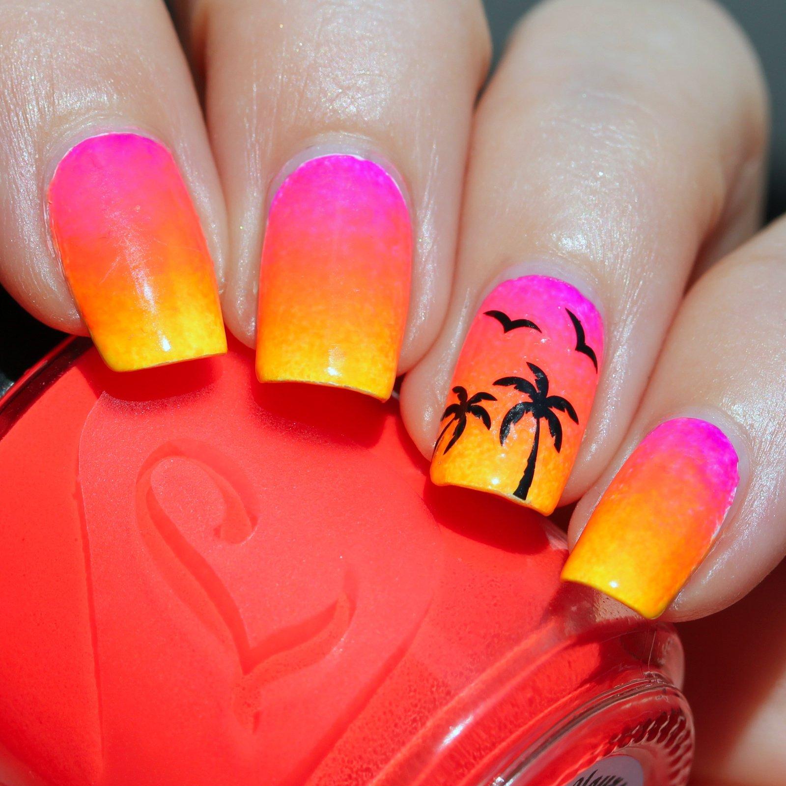 возможно, картинки яркого летнего маникюра в фиолетовых оттенках с пальмами все наследники никак