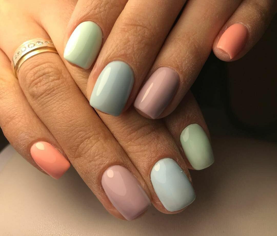 внимание, ногти разных цветов сочетание фото должно быть