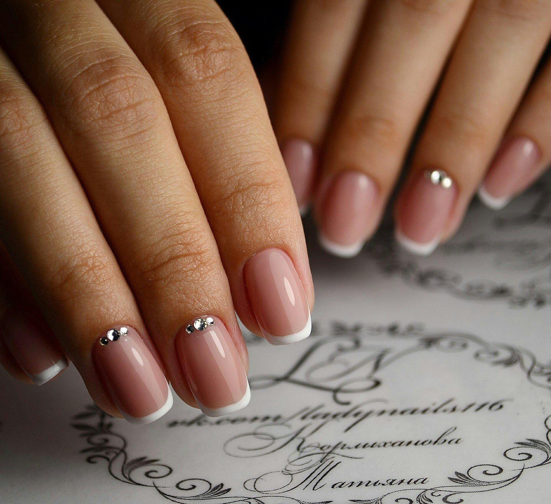 Дизайн квадратных ногтей френч фото