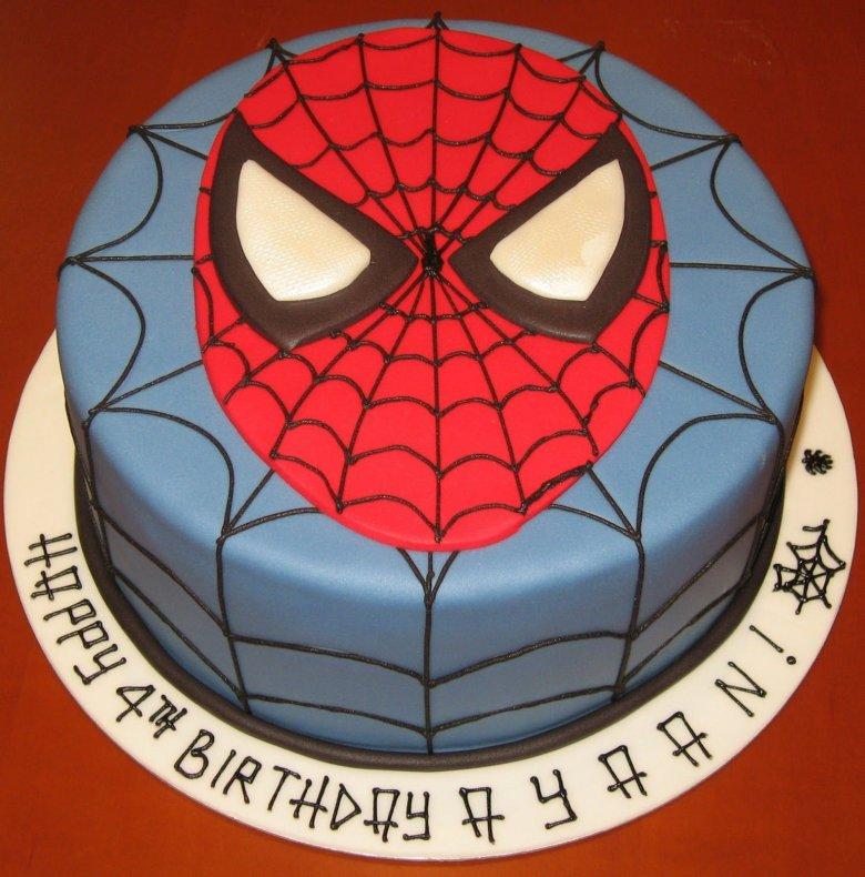 Фото торта с картинкой человеком пауком