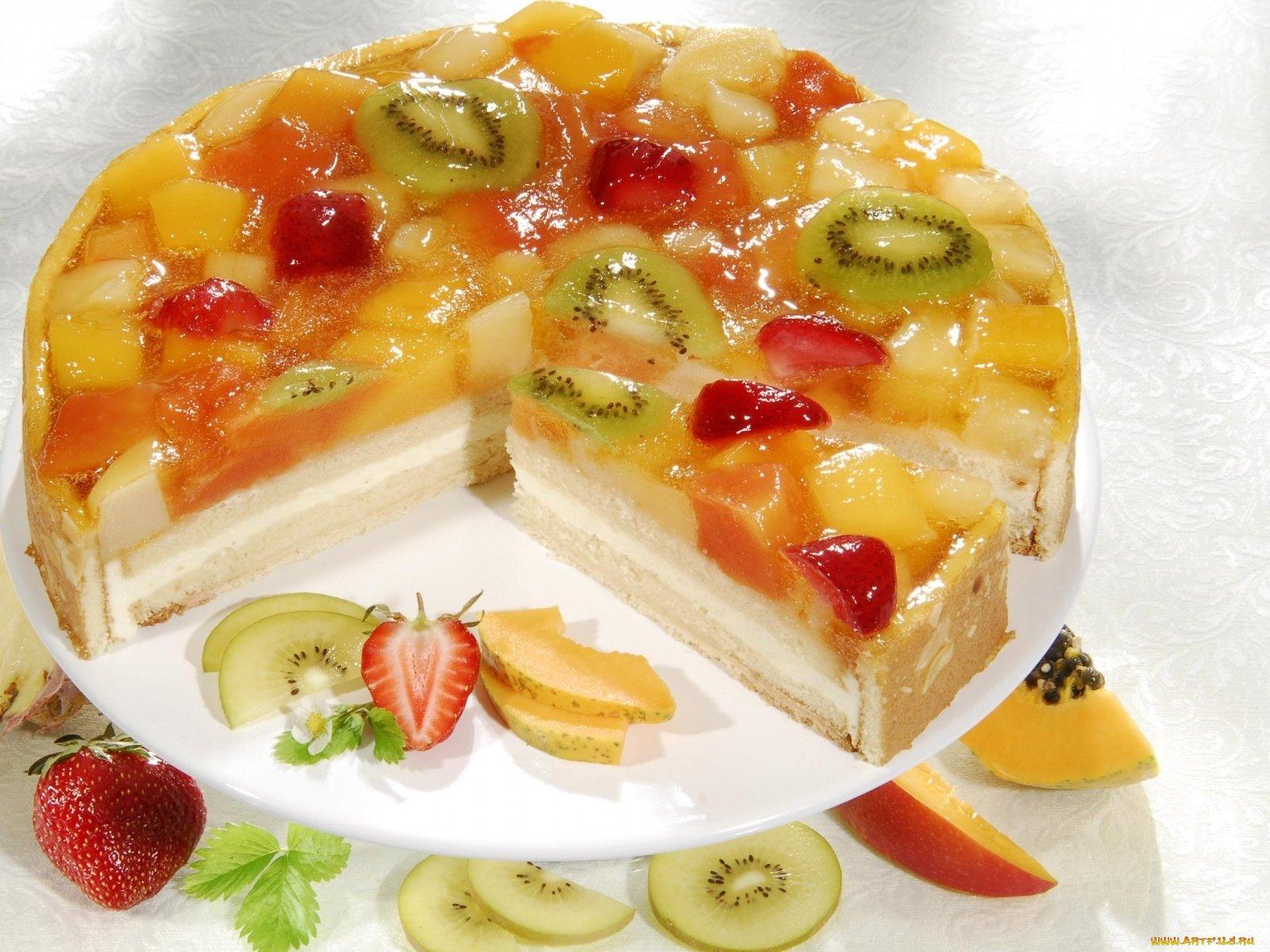 торт с фруктами сверху фото в желе прощупывании