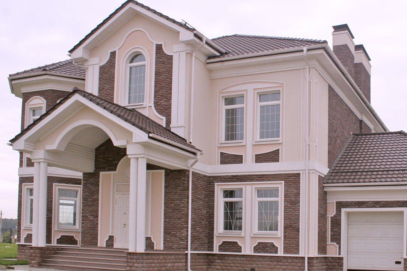 Фото фасад дома штукатурка и камень