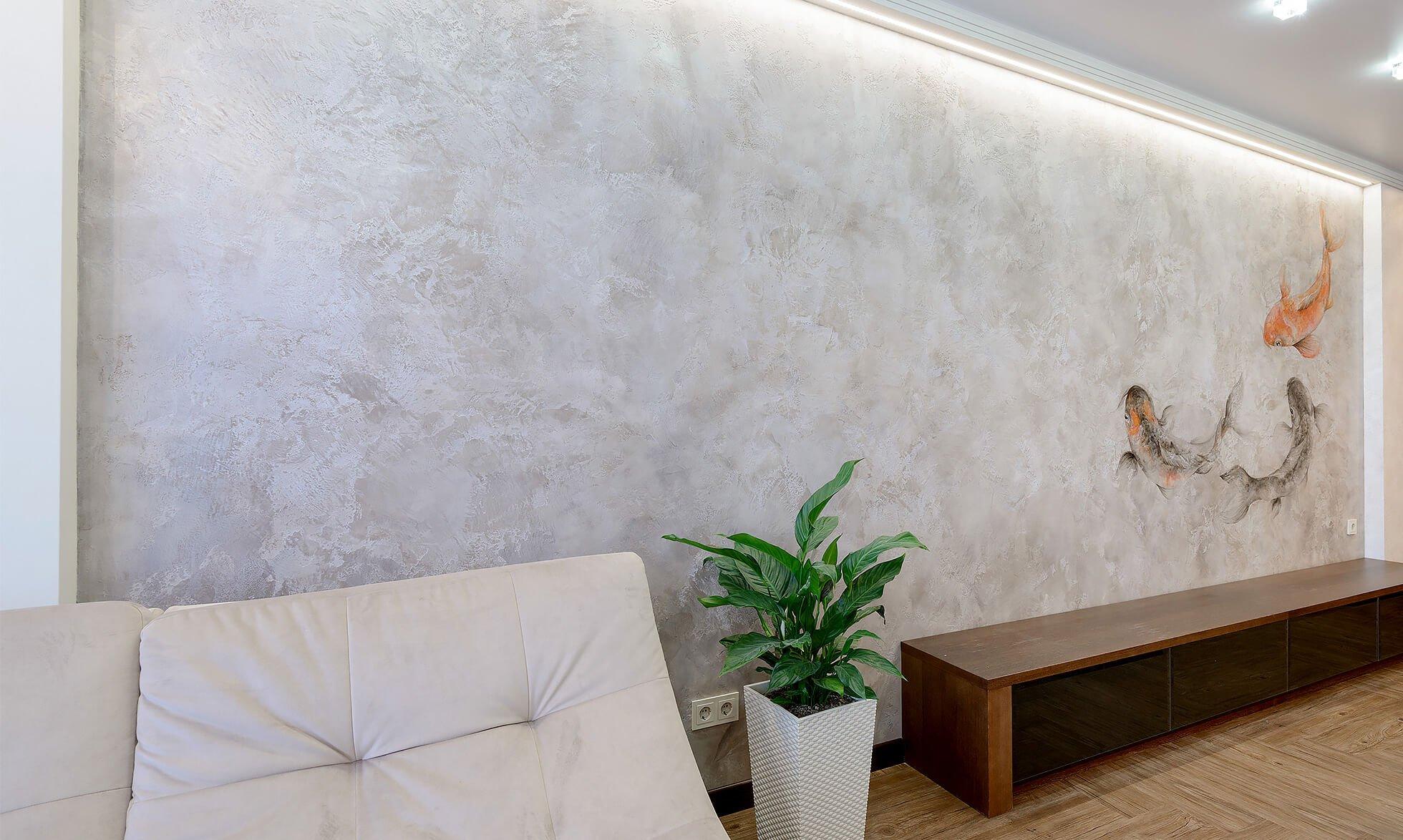 Декоративная покраска обоев в офисе фото