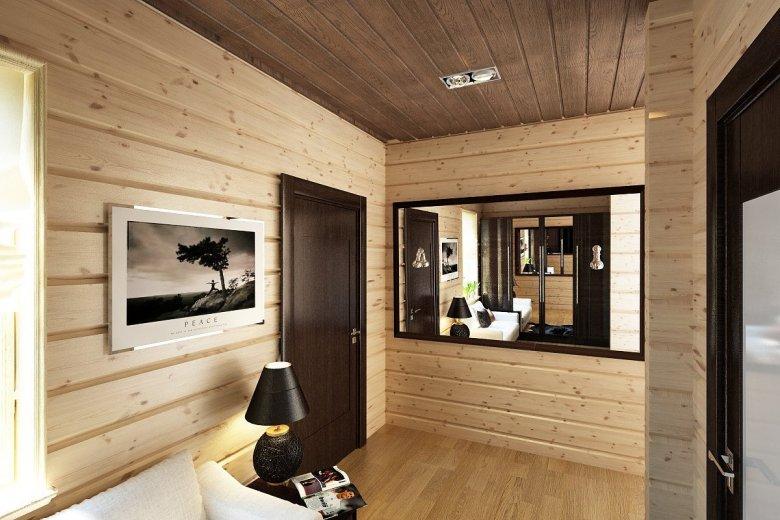 Комната из блокхауса и двери сочетание фото