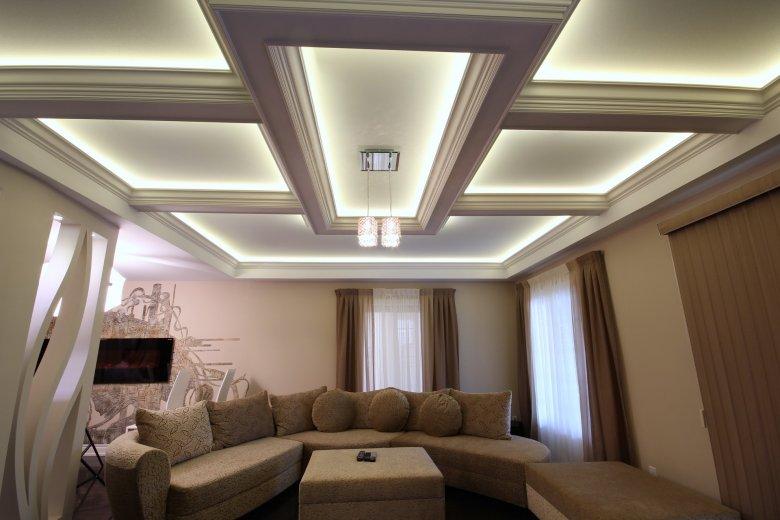 Фото красивых потолков из гипсокартона в зале