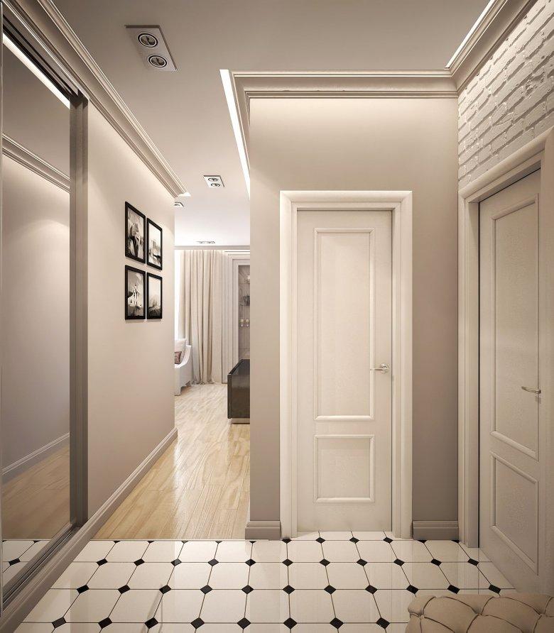 Дизайн прихожей со светлыми дверями фото