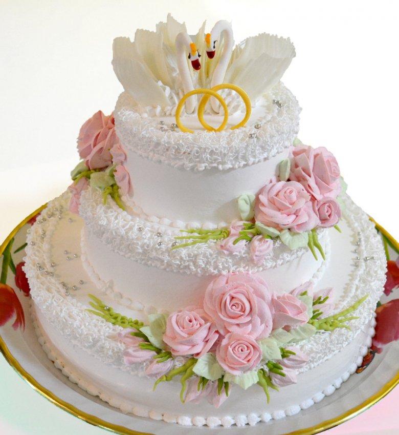Свадебные торты из сливок фото одноярусные