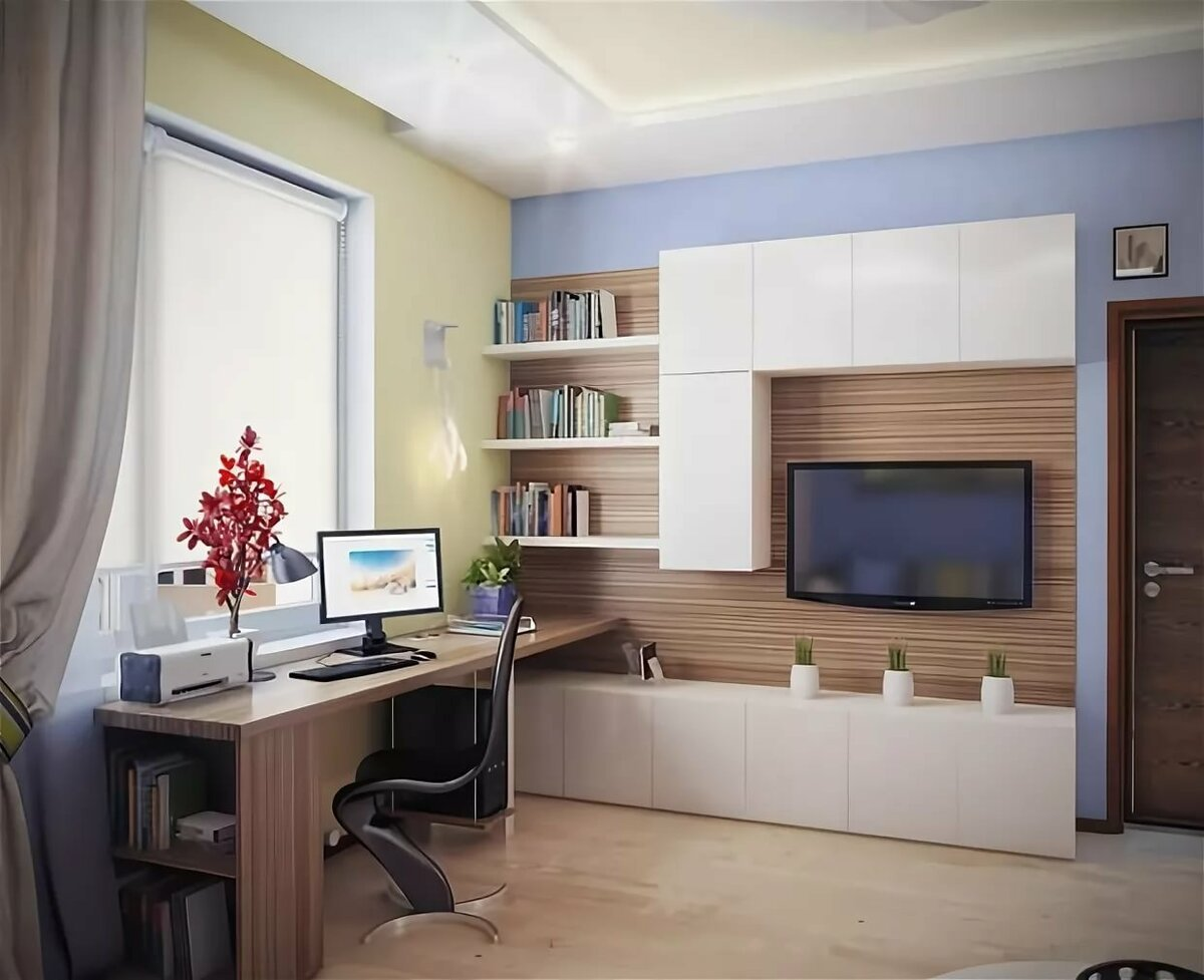 компьютерный стол в гостиной решение фото нарисованные едином
