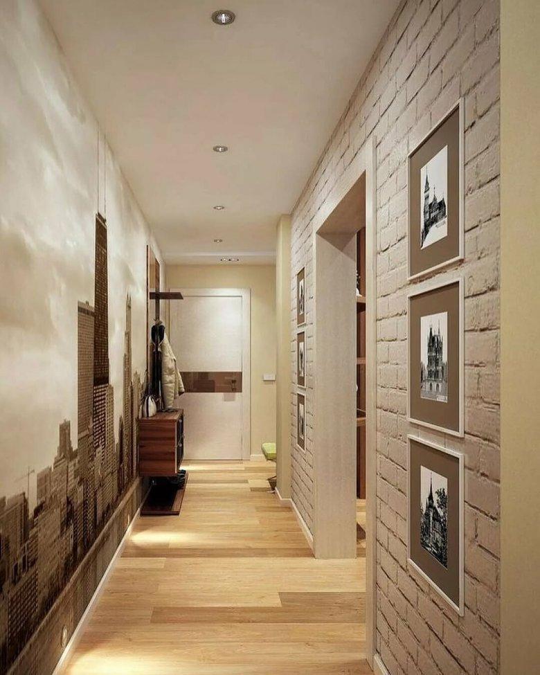 кухне стены большая прихожая фото с длинным коридором фото