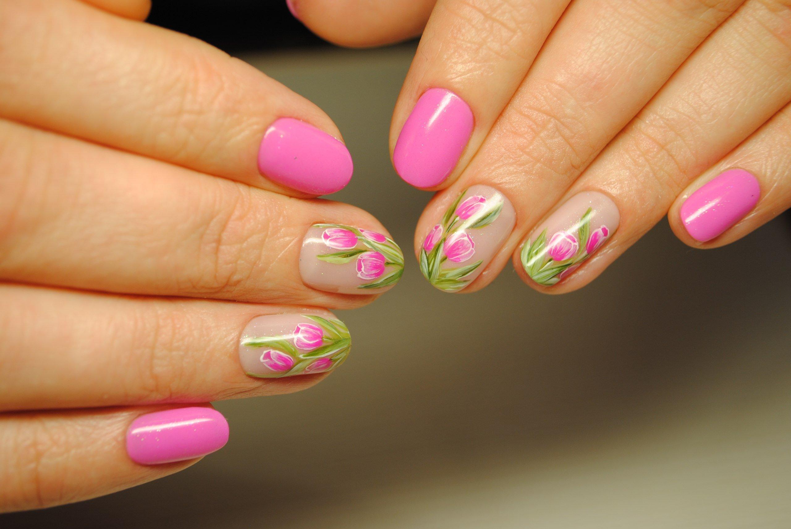 дизайн ногтей тюльпаны фото