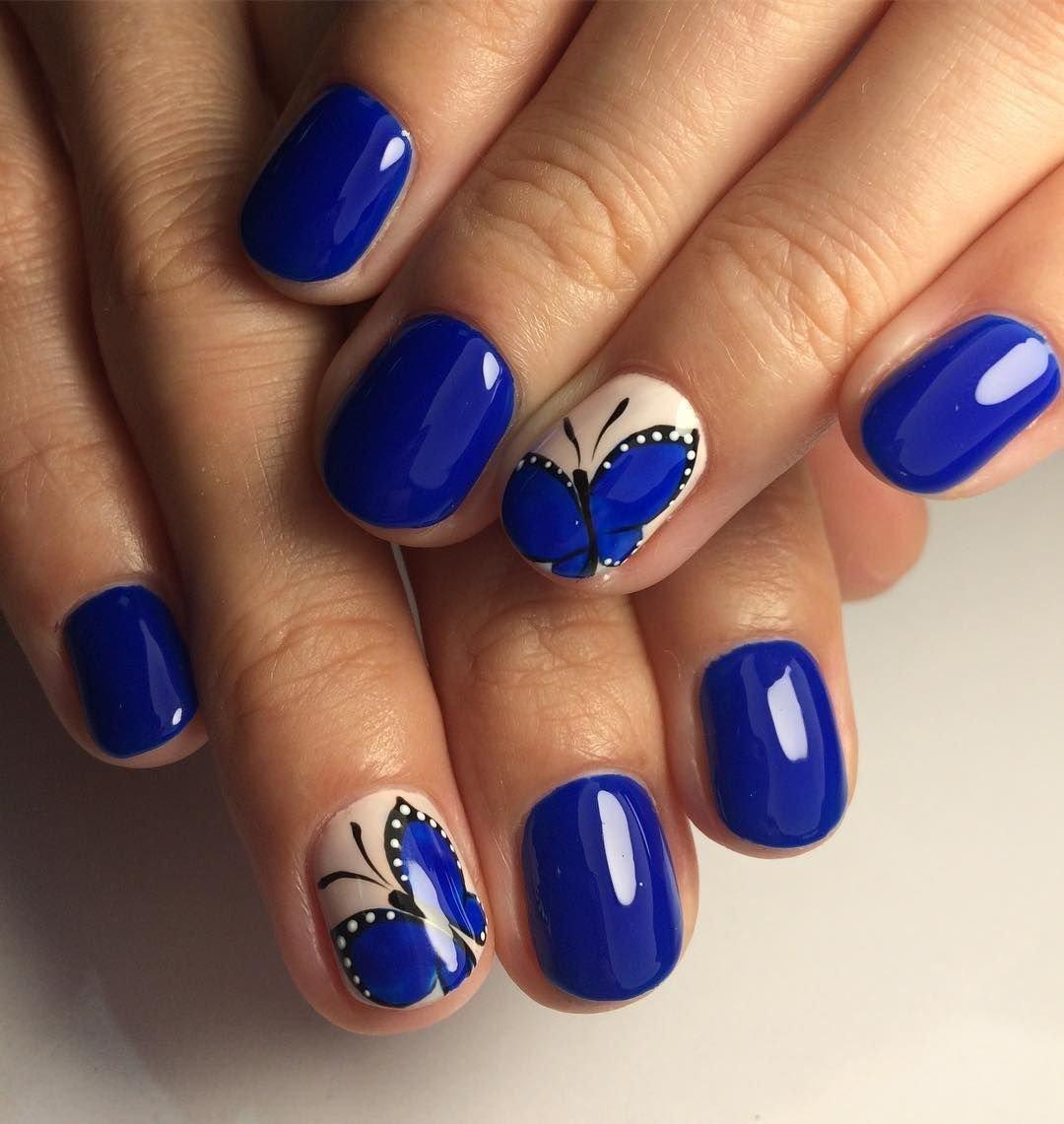 Маникюр дизайн ногтей фото синий