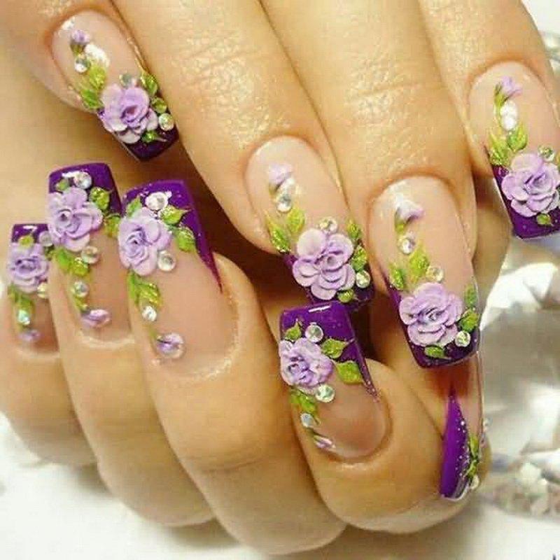 рисунки на ногтях цветочки фото