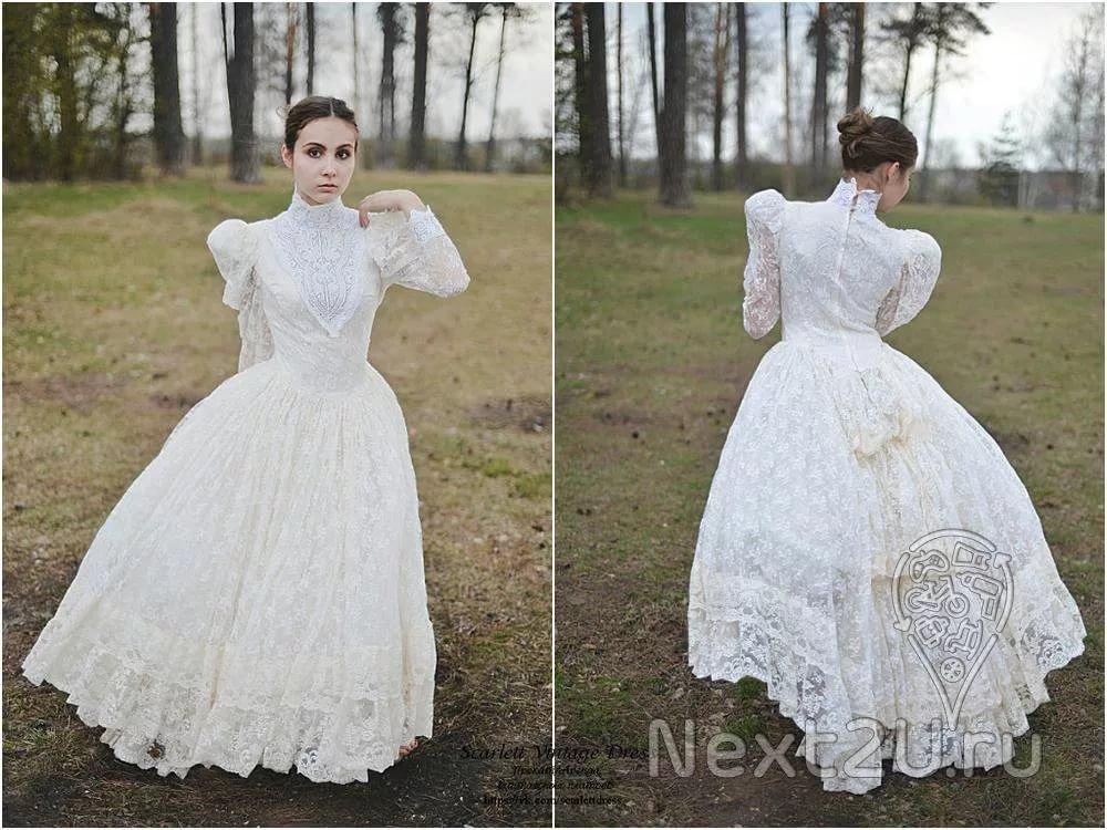 Винтажные Платья Белые Кружевные