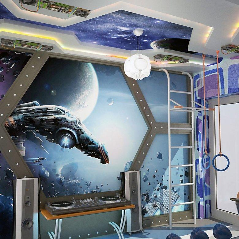 Комната в стиле космос для мальчика