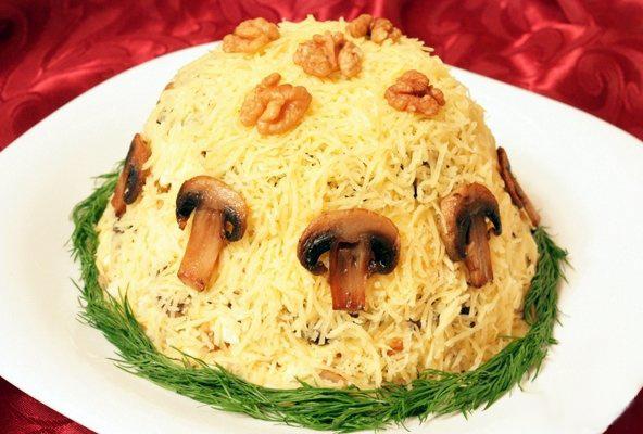 фото рецепт салатов из курицы и грибов