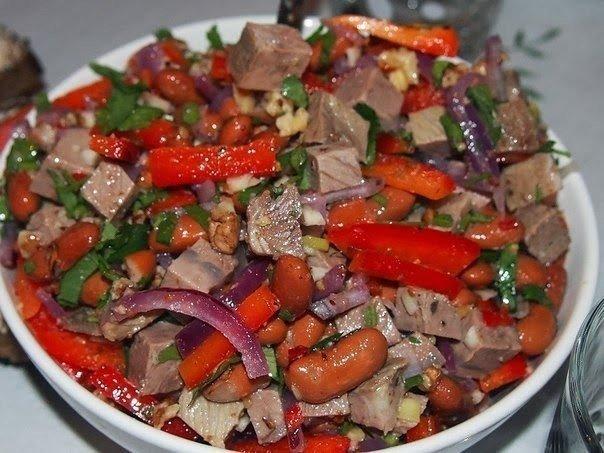 грузинский салат с говядиной и с фасолью