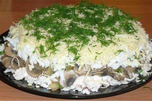Рецепты салатов с шампиньонами курицей