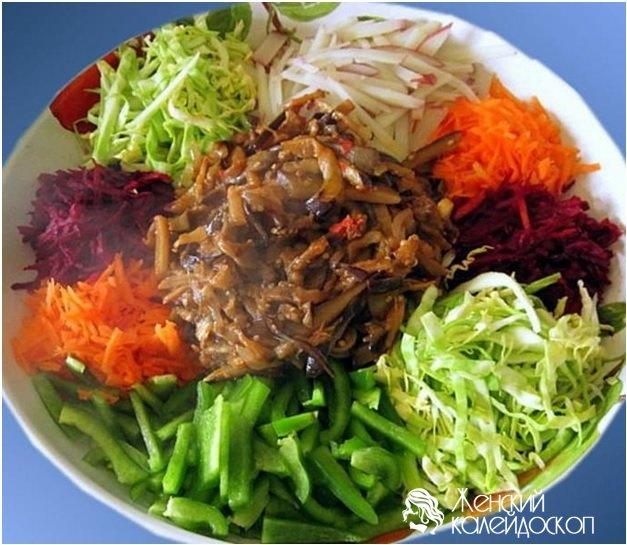 салат чафан рецепт фото с колбасой