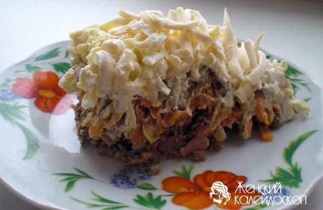 Женский салат с печенью